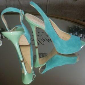 Turquoise suede peeptoe platform heels